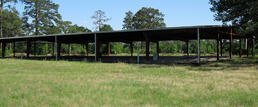 An empty pavilion on the grounds of Girl Scout Camp Camwood